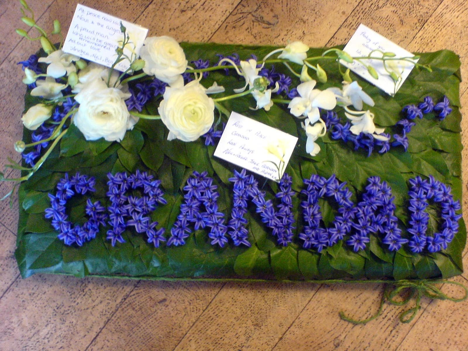 Funeral libby ferris flowers grandad design sheet with hyacinth e izmirmasajfo Gallery